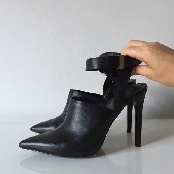 2a54c69ab2853 Zara Shoes | Black Pointy Mule Pumps With Ankle Strap 38 | Poshmark